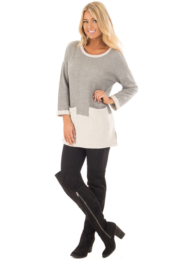 Heather Grey Sweater with Cream Contrast and Pockets front full body