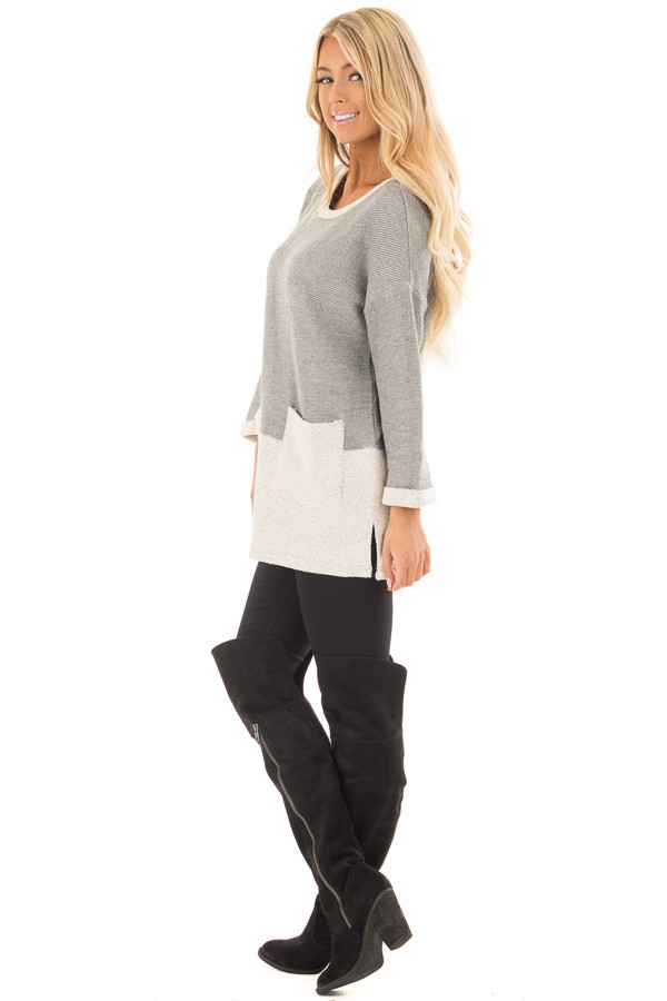 Heather Grey Sweater with Cream Contrast and Pockets side full body