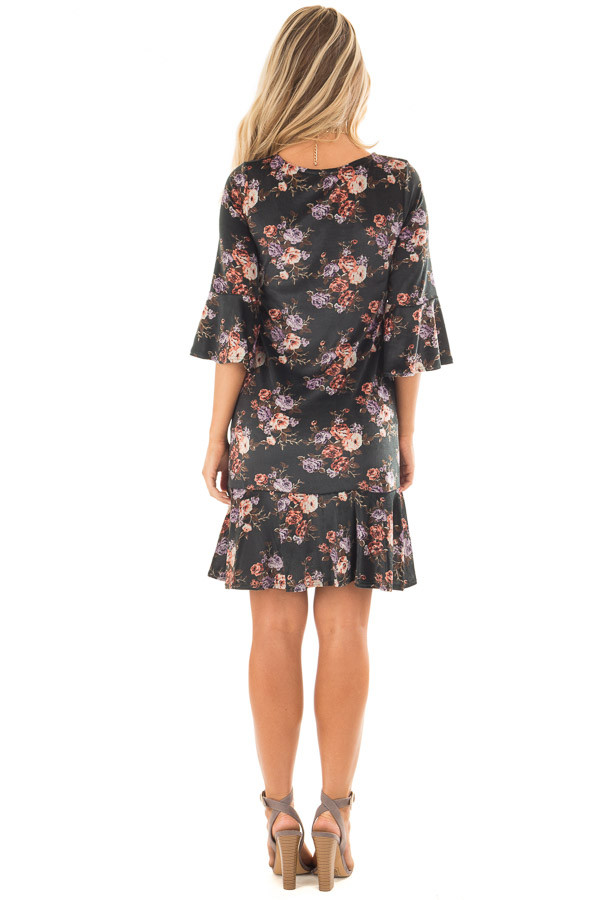 Forest Green Floral Velvet Bell Sleeved Ruffle Dress back full body