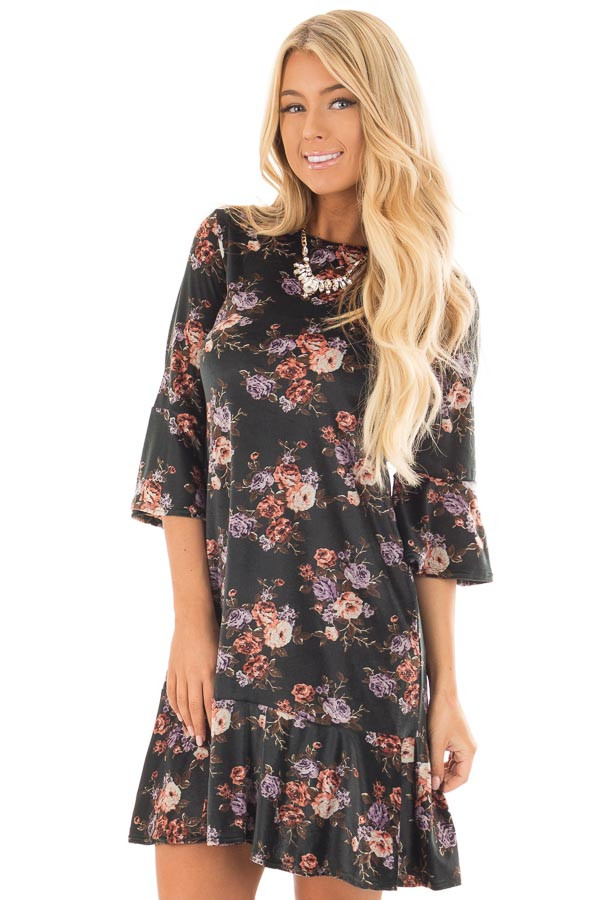 Forest Green Floral Velvet Bell Sleeved Ruffle Dress front close up