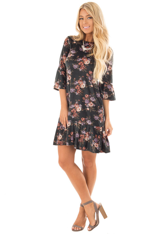 Forest Green Floral Velvet Bell Sleeved Ruffle Dress front full body