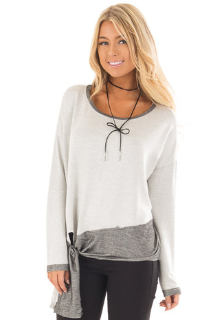 Heather Grey Top with Charcoal Contrast and Front Tie front close up
