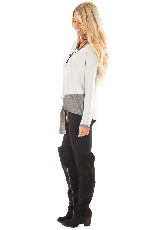 Heather Grey Top with Charcoal Contrast and Front Tie side full body