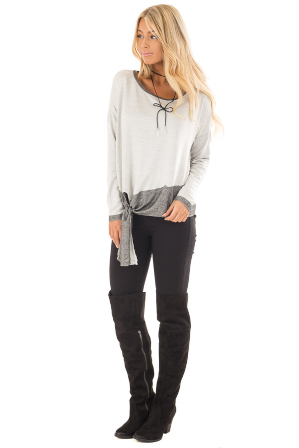 Heather Grey Top with Charcoal Contrast and Front Tie front full body
