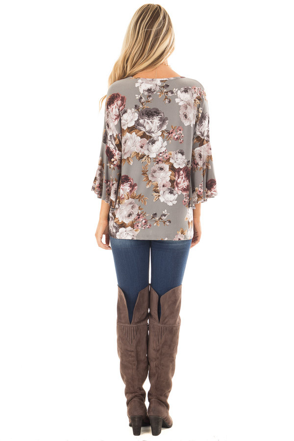 Steel Grey Floral 3/4 Bell Sleeve Top back full body