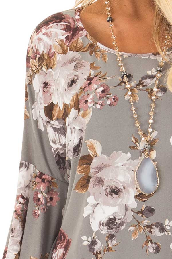 Steel Grey Floral 3/4 Bell Sleeve Top detail