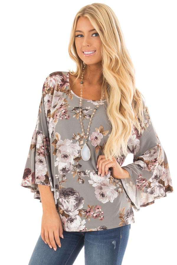 Steel Grey Floral 3/4 Bell Sleeve Top front close up
