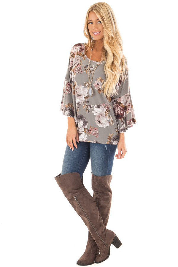 Steel Grey Floral 3/4 Bell Sleeve Top front full body