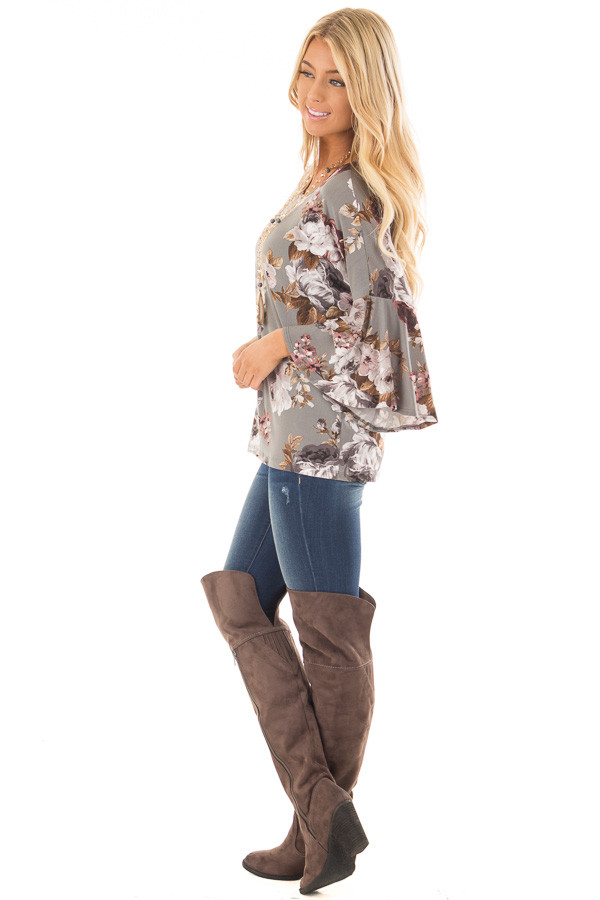 Steel Grey Floral 3/4 Bell Sleeve Top side full body