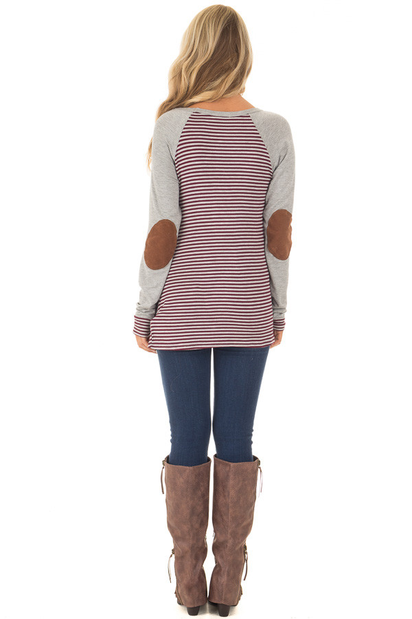 Burgundy and Grey Striped Raglan Tee with Twist Detail back full body