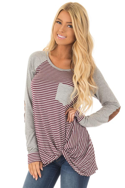 Burgundy and Grey Striped Raglan Tee with Twist Detail front close up