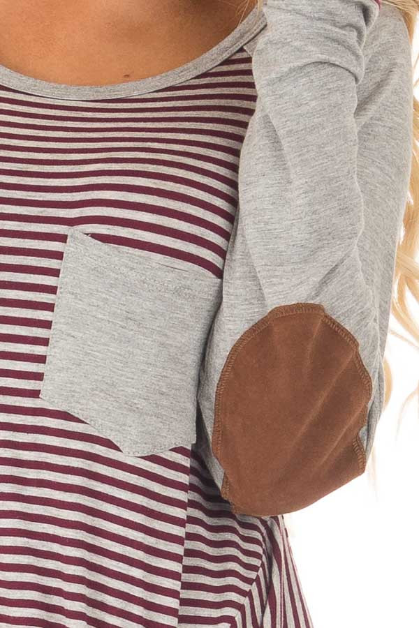 Burgundy and Grey Striped Raglan Tee with Twist Detail detail