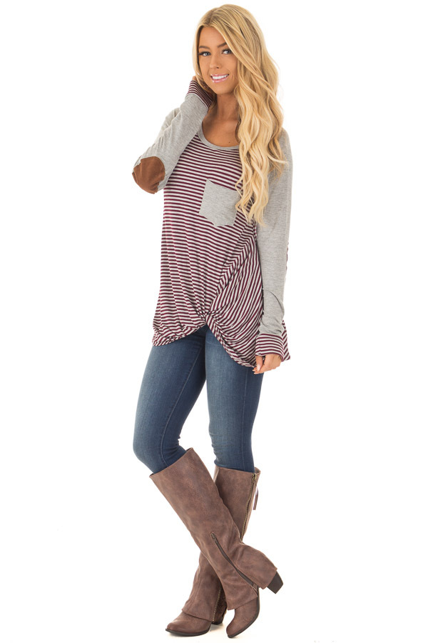 Burgundy and Grey Striped Raglan Tee with Twist Detail front full body