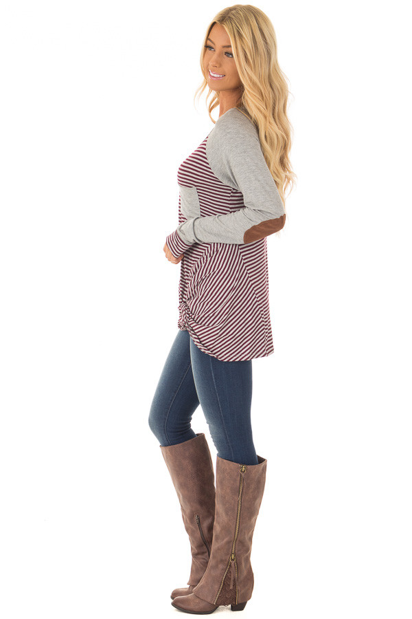 Burgundy and Grey Striped Raglan Tee with Twist Detail side full body