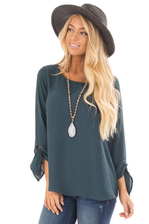 Deep Emerald Tied Sleeve Blouse with Rounded Neckline front close up