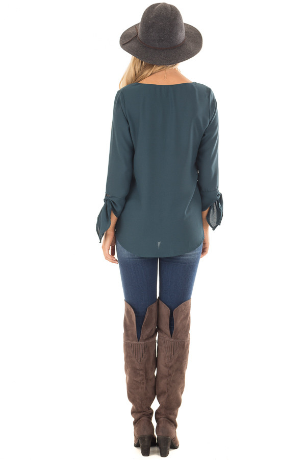 Deep Emerald Tied Sleeve Blouse with Rounded Neckline back full body