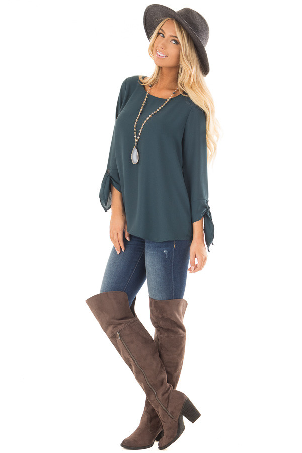 Deep Emerald Tied Sleeve Blouse with Rounded Neckline front full body