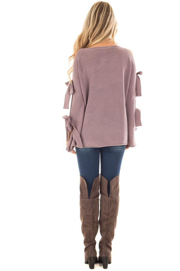 Mauve Sweater with Cut Out Sleeves and Tie Details back full body