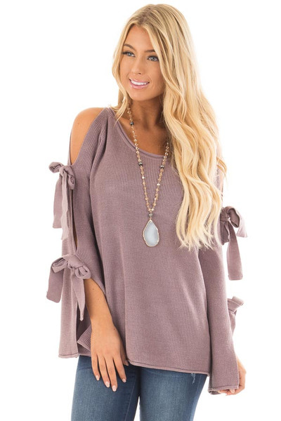 Mauve Sweater with Cut Out Sleeves and Tie Details front close up
