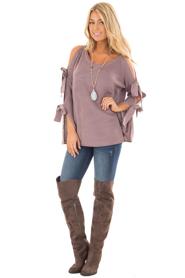 Mauve Sweater with Cut Out Sleeves and Tie Details front full body