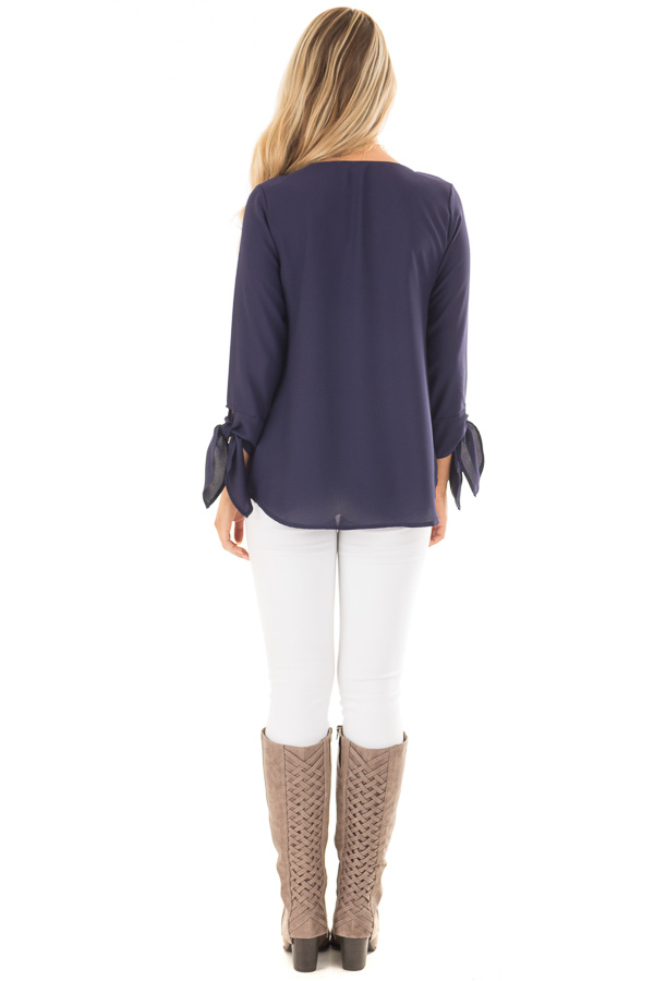 Navy Tied Sleeve Blouse with Rounded Neckline back full body