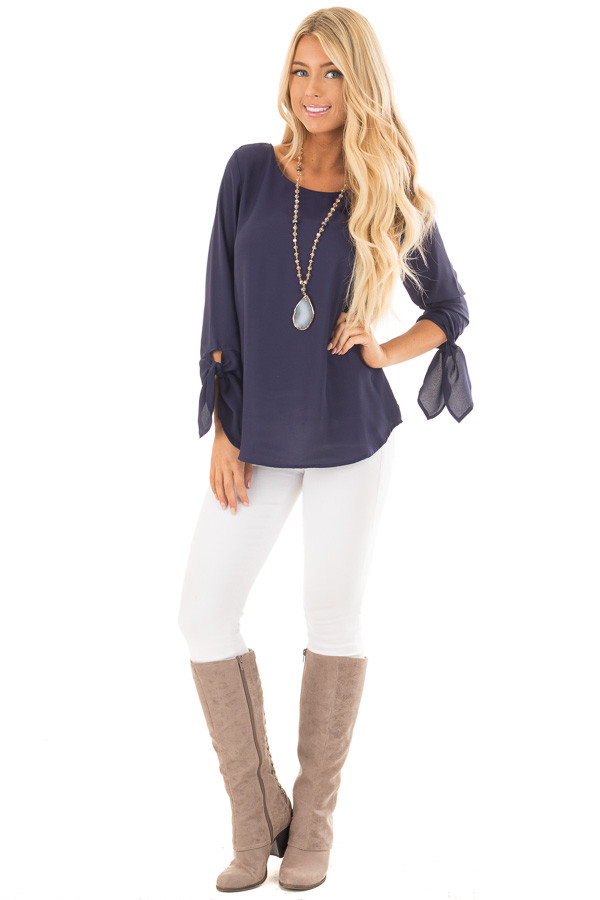 Navy Tied Sleeve Blouse with Rounded Neckline front full body