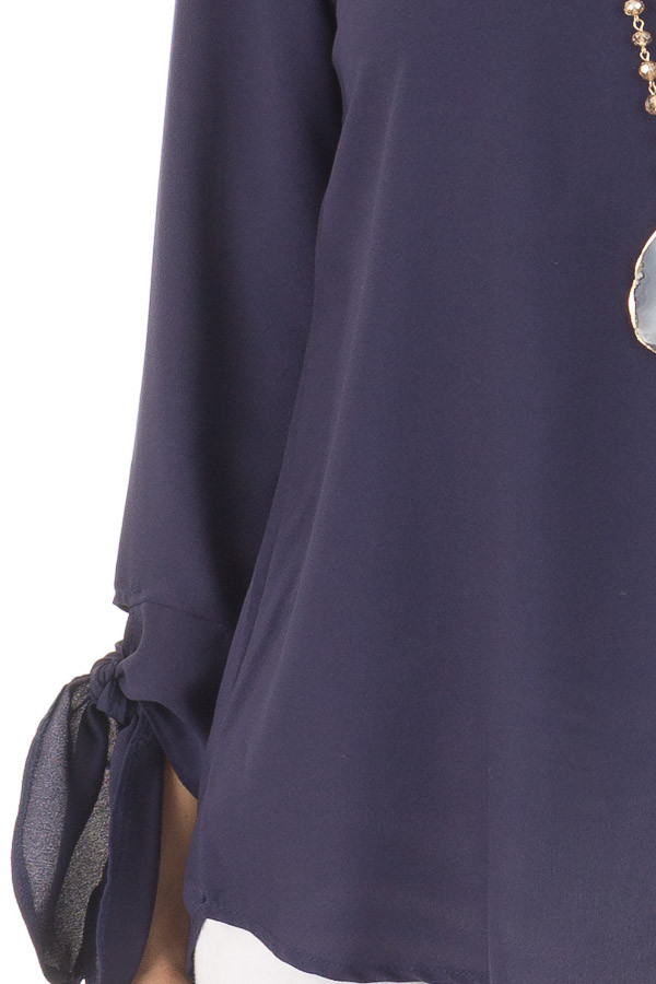Navy Tied Sleeve Blouse with Rounded Neckline detail