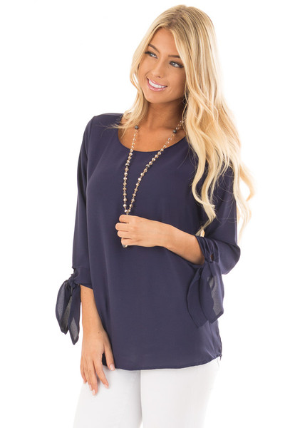 Navy Tied Sleeve Blouse with Rounded Neckline front close up