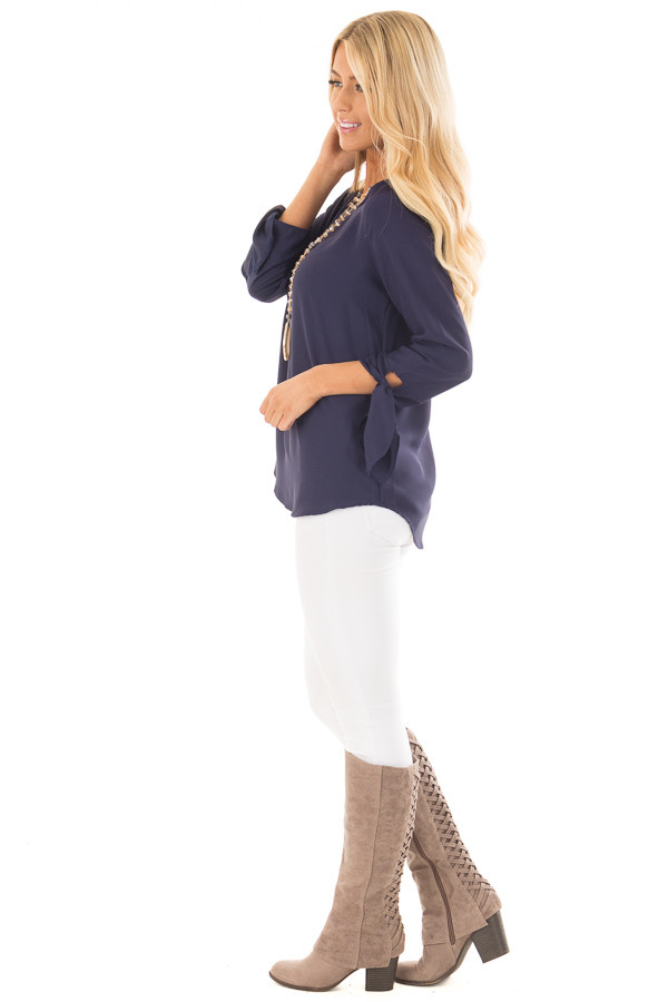 Navy Tied Sleeve Blouse with Rounded Neckline side full body