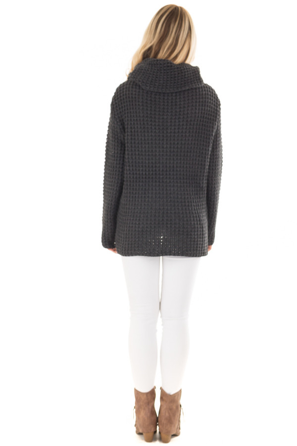 Charcoal Cowl Neck Sweater with Button Details back full body
