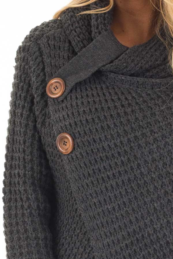 Charcoal Cowl Neck Sweater with Button Details detail