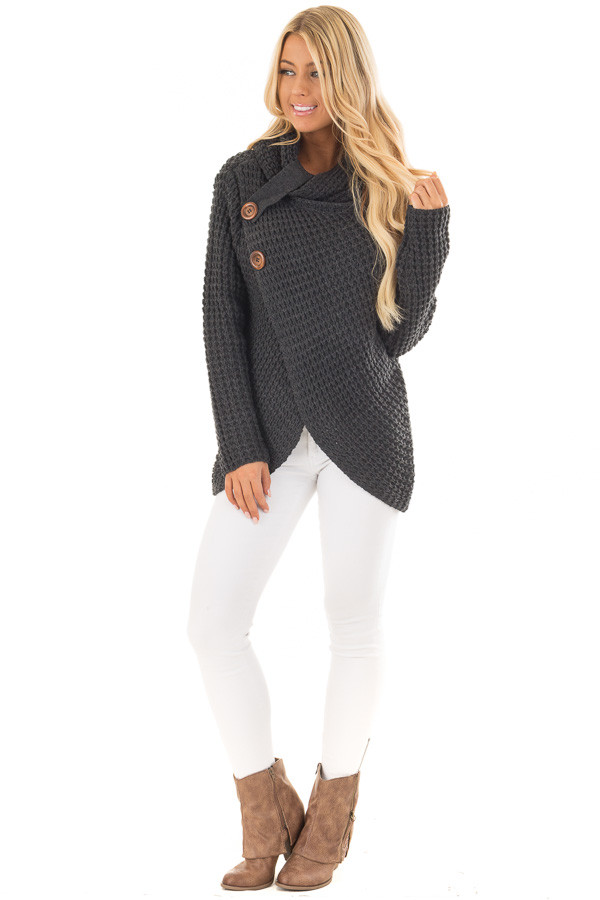 Charcoal Cowl Neck Sweater with Button Details front full body
