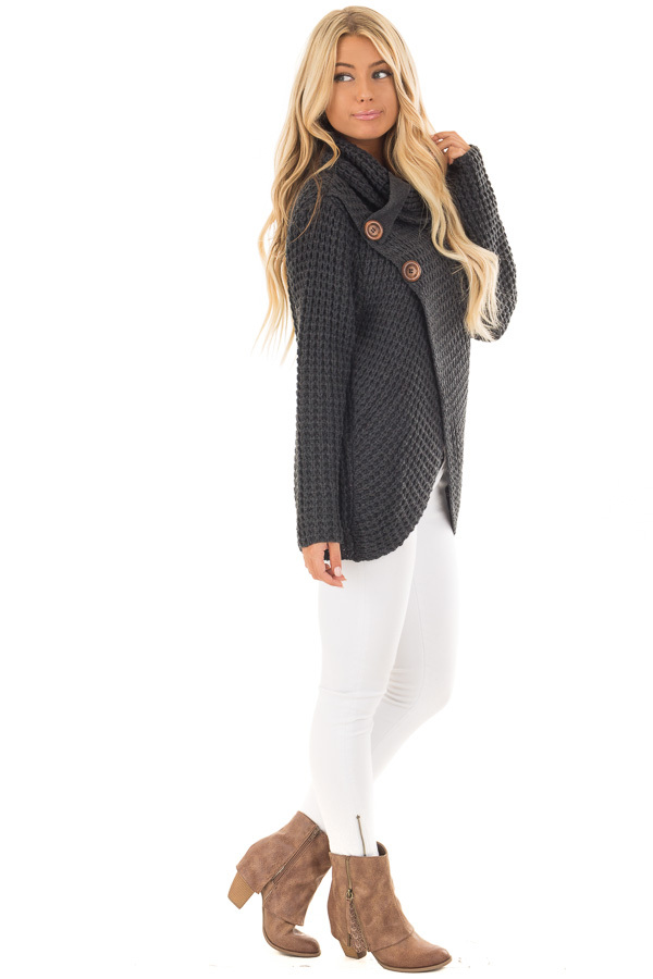 Charcoal Cowl Neck Sweater with Button Details side full body