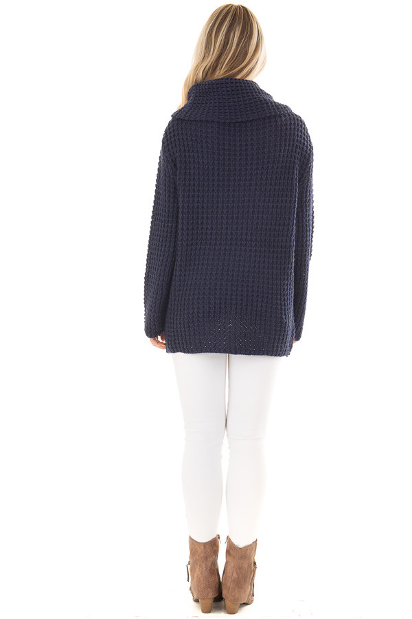 Navy Cowl Neck Sweater with Button Details back full body