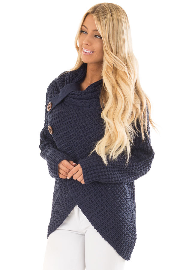Navy Cowl Neck Sweater with Button Details front close up