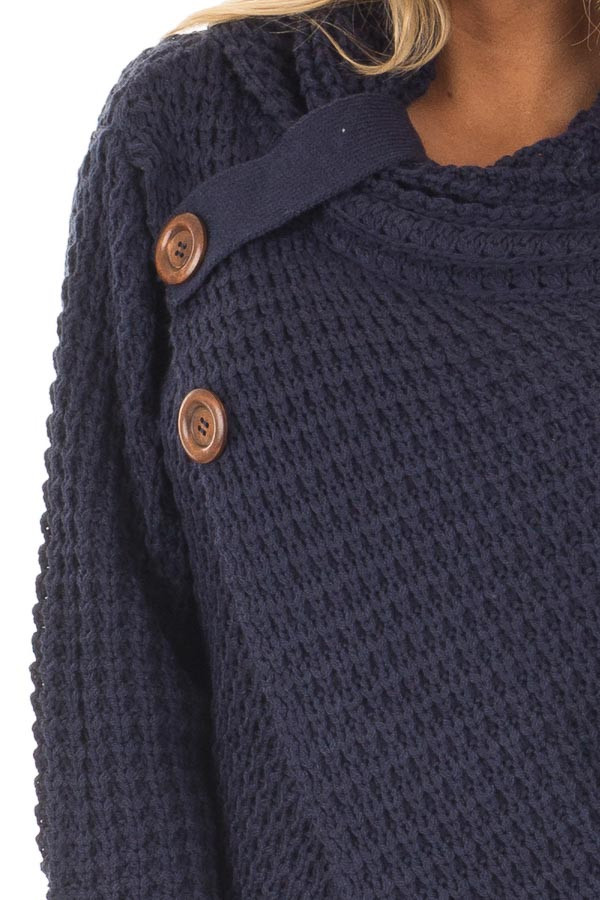 Navy Cowl Neck Sweater with Button Details detail