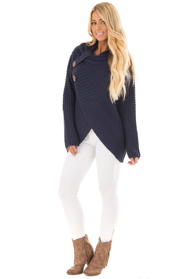 Navy Cowl Neck Sweater with Button Details front full body