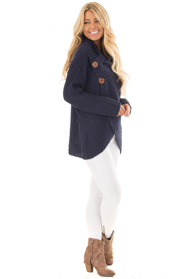 Navy Cowl Neck Sweater with Button Details side full body