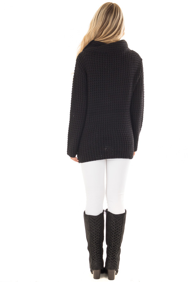 Black Cowl Neck Sweater with Button Details back full body