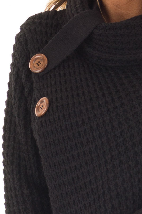 Black Cowl Neck Sweater with Button Details detail