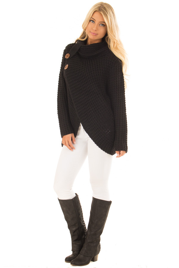 Black Cowl Neck Sweater with Button Details front full body
