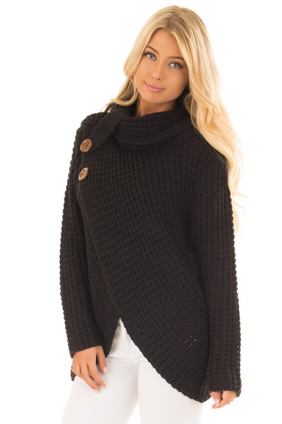 Black Cowl Neck Sweater with Button Details front close up