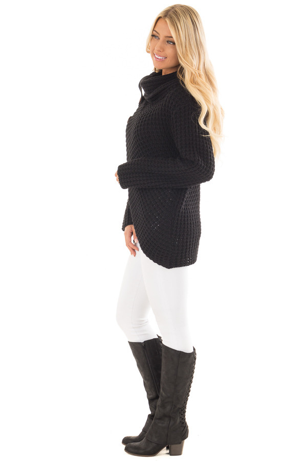 Black Cowl Neck Sweater with Button Details side full body