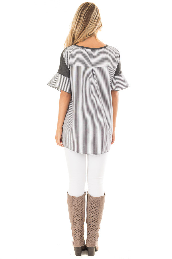 Charcoal Short Bell Sleeve Top with Striped Contrast Detail back full body