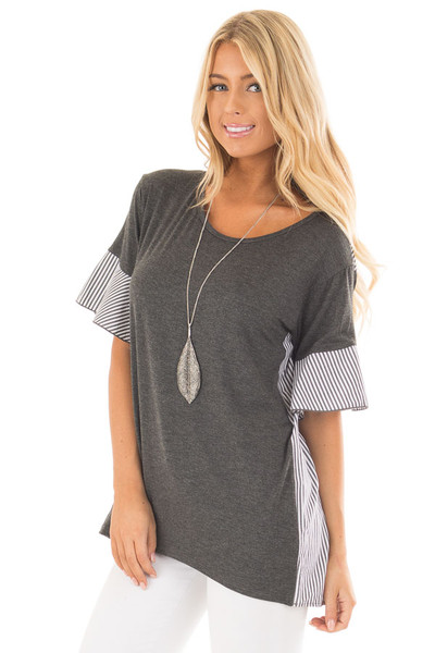 Charcoal Short Bell Sleeve Top with Striped Contrast Detail front close up