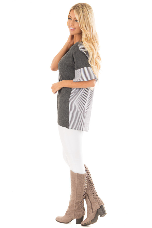 Charcoal Short Bell Sleeve Top with Striped Contrast Detail side full body