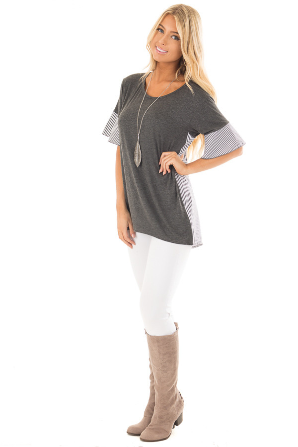 Charcoal Short Bell Sleeve Top with Striped Contrast Detail front full body