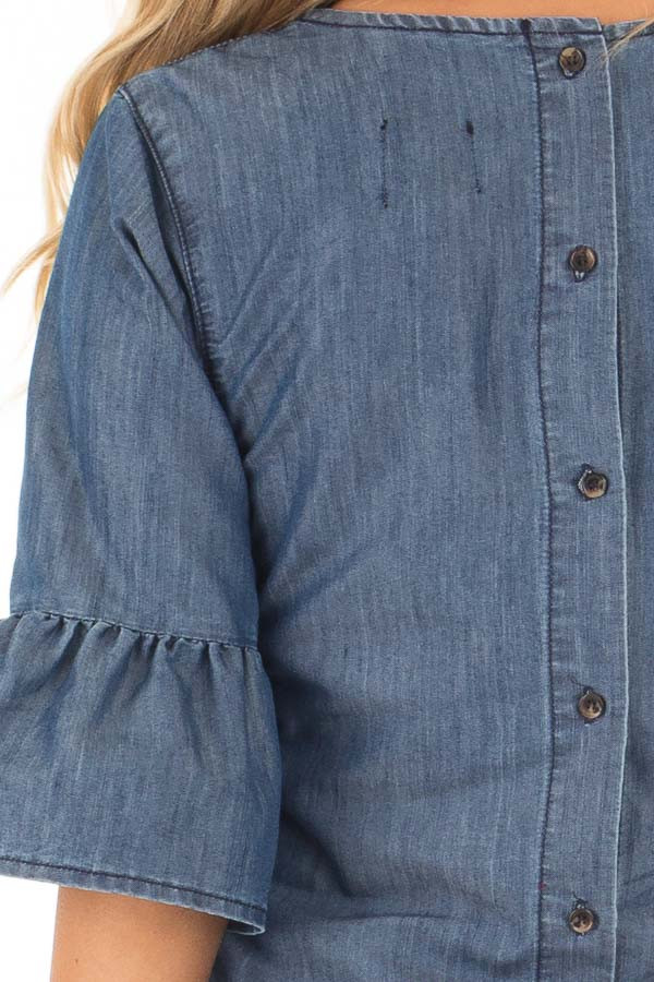 Medium Denim Blouse with Bell Flare Sleeves detail