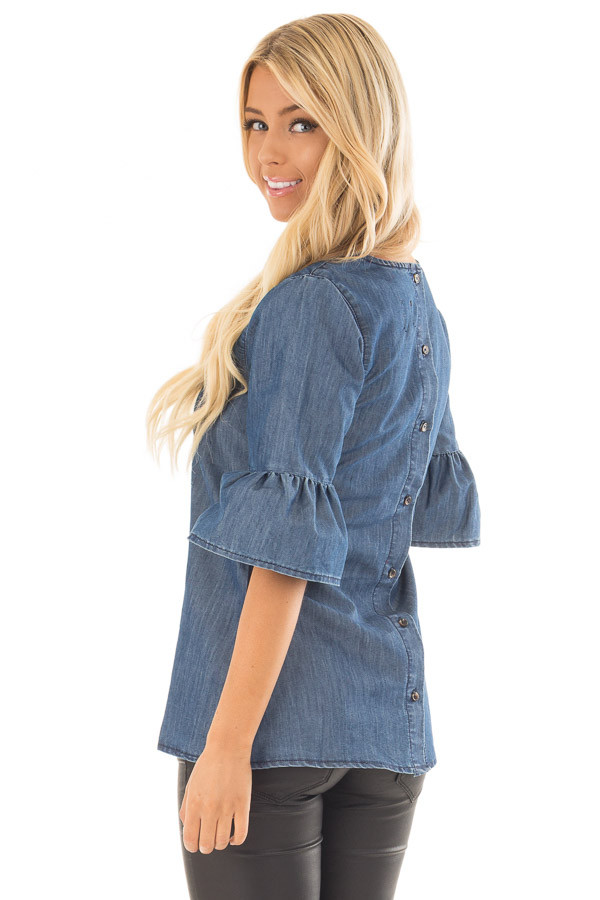 Medium Denim Blouse with Bell Flare Sleeves back side close up