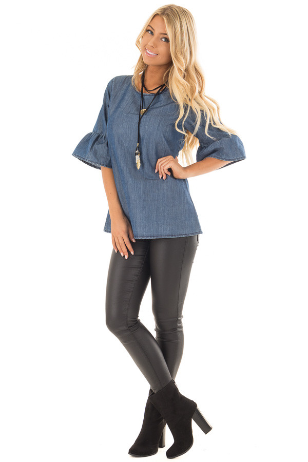 Medium Denim Blouse with Bell Flare Sleeves front full body